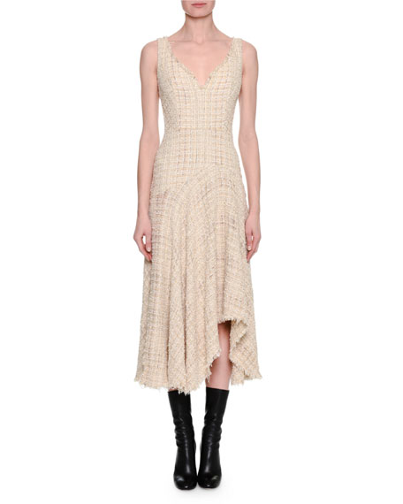 Alexander McQueen Metallic Tweed Sleeveless Draped Midi Dress,