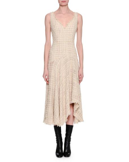 Metallic Tweed Sleeveless Draped Midi Dress, Ivory