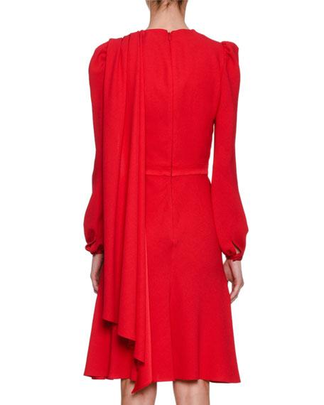 Long-Sleeve Crepe Draped-Bodice Dress, Scarlet