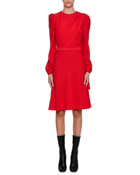 Alexander McQueen Long-Sleeve Crepe Draped-Bodice Dress, Scarlet