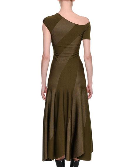 Spiral-Knit Bias-Cut Midi Dress, Khaki