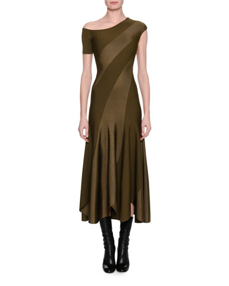 Alexander McQueen Spiral-Knit Bias-Cut Midi Dress, Khaki