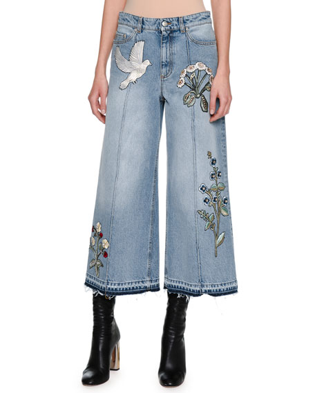 Alexander McQueen Embroidered Denim Culottes with Released Hem,