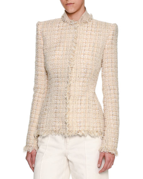 Metallic Tweed Fringe-Trim Jacket, Ivory
