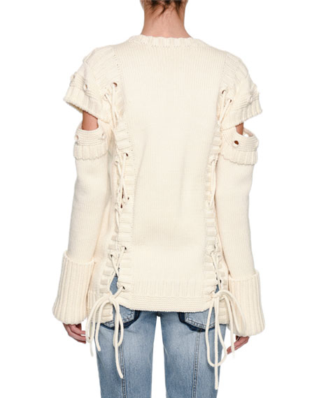 Chunky Lace-Up Detached-Sleeve Pullover