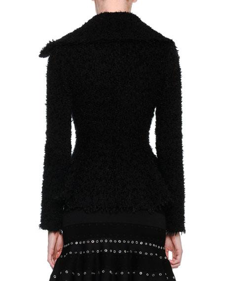 Textured Boucle Peplum Jacket, Black