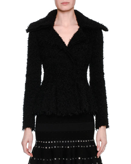 Alexander McQueen Textured Boucle Peplum Jacket, Black and