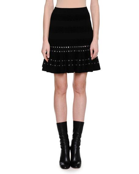 Alexander McQueen Chenille Miniskirt with Eyelet Trim, Black