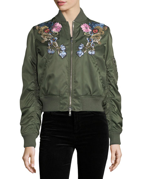 Floral-Embroidered Satin Bomber Jacket