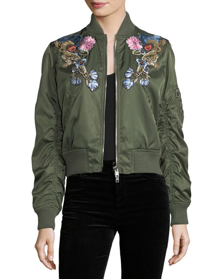 Alexander McQueen Floral-Embroidered Satin Bomber Jacket