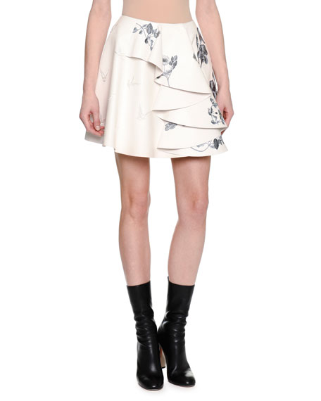 Embroidered Leather Side-Ruffle Miniskirt, White/Gray