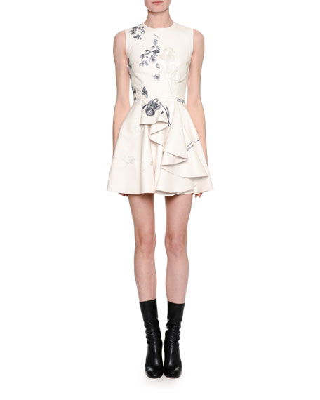 Alexander McQueen Sleeveless Embroidered Leather Side-Ruffle