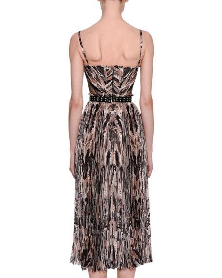 Marble-Print Chiffon Corset Midi Dress, Pink/Gray