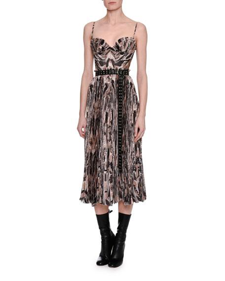 Alexander McQueen Marble-Print Chiffon Corset Midi Dress,