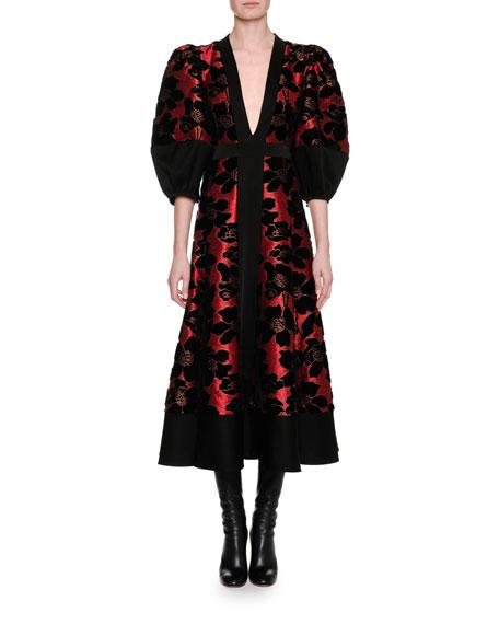 Alexander McQueen Lily Pad Jacquard & Velvet Midi