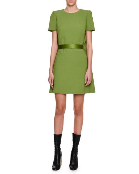 Alexander McQueen Cape-Back Short-Sleeve Minidress, Green