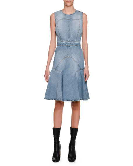 Sleeveless Denim Flounce Dress, Blue