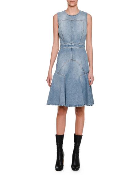 Sleeveless Denim Flounce Dress, Blue