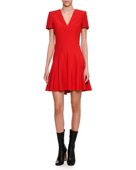 Alexander McQueen Short-Sleeve V-Neck Fit & Flare Dress,