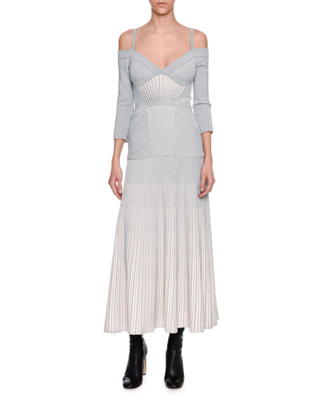 Alexander McQueen Cold-Shoulder Metallic Armour Knit Corset Midi