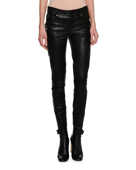 Alexander McQueen Lambskin Leather Biker Leggings, Black and