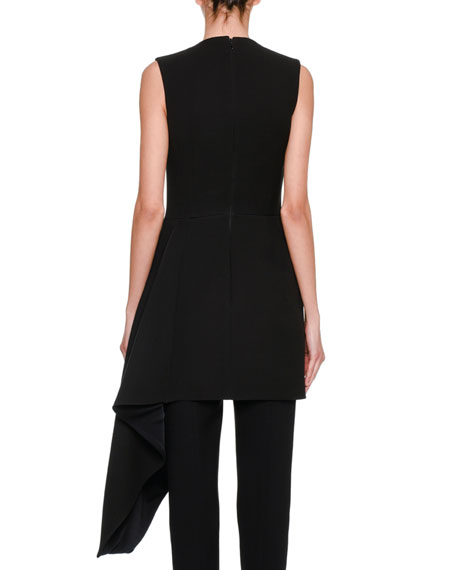 Sleeveless Side-Ruffle Draped Minidress, Black