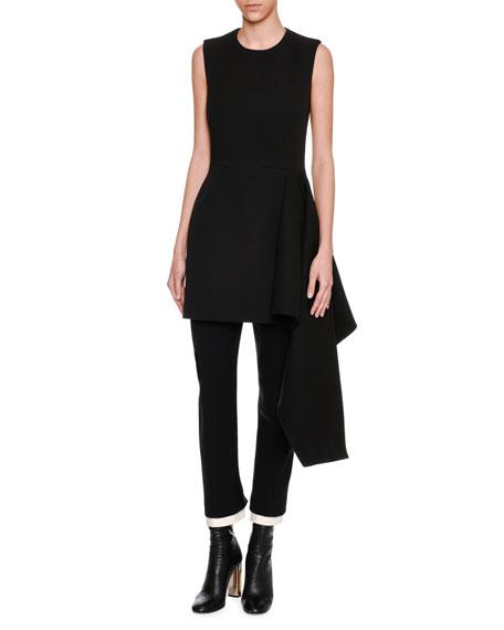 Alexander McQueen Sleeveless Side-Ruffle Draped Minidress, Black