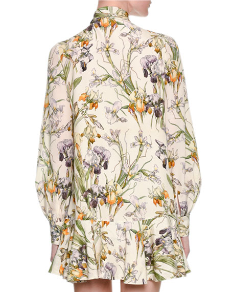 Wild Iris Crêpe de Chine Tie-Neck Minidress, Ivory