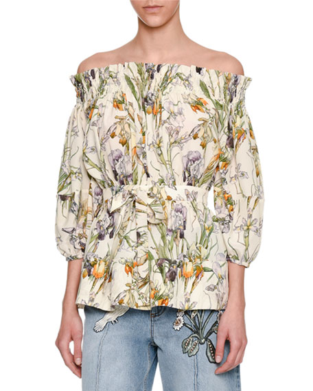 Alexander McQueen Wild Iris Off-the-Shoulder Blouse, Ivory