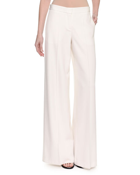 Alexander McQueen Wide-Leg Satin-Stripe Tuxedo Pants, White and