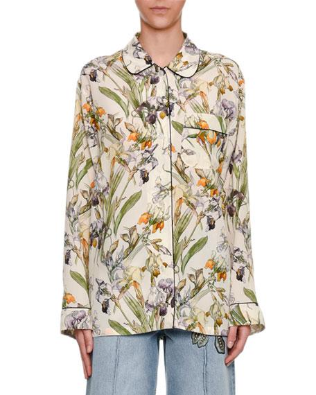 Wild Iris Pajama Shirt, Ivory