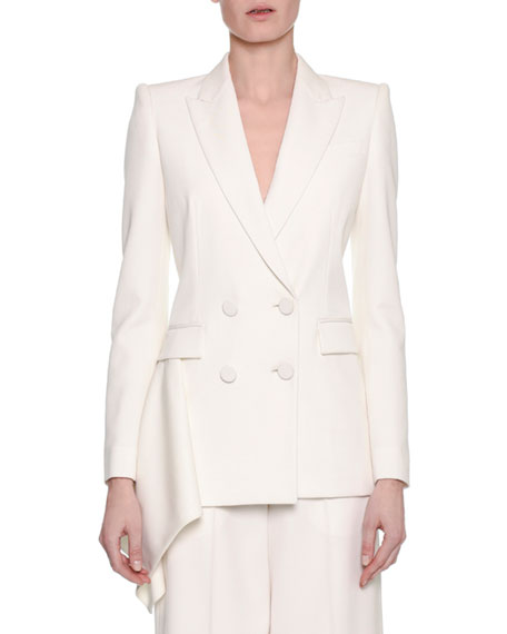 Alexander McQueen Double-Breasted Draped-Side Tuxedo Blazer, White