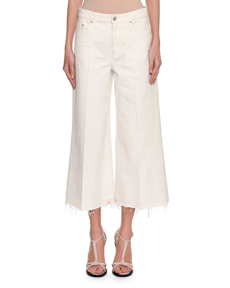 Denim Culottes with Released Hem, Chalk (White)