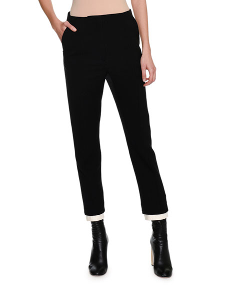 High-Waist Double Contrast-Hem Cigarette Pants