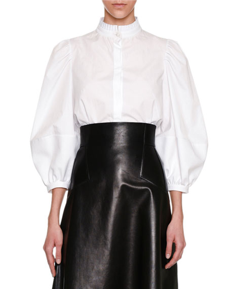 Alexander McQueen High-Waist Plongé Leather Skirt, Black and