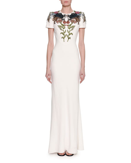 Alexander McQueen Medieval Floral-Encrusted Short-Sleeve Gown, Ivory