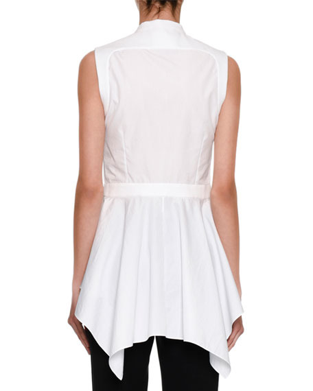 Sleeveless Waterfall Peplum Shirt, White