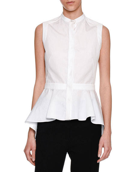 Alexander McQueen Sleeveless Waterfall Peplum Shirt, White