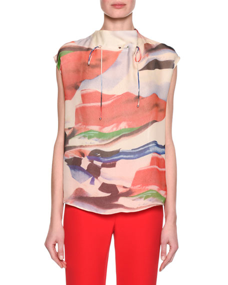 Giorgio Armani Abstract-Print Cap-Sleeve Funnel-Neck Top, Pink