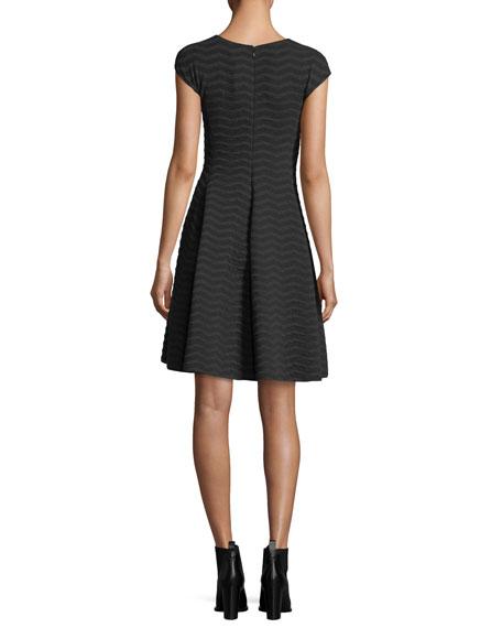 Cap-Sleeve Wave Jacquard Dress