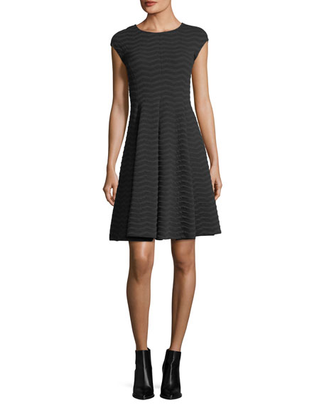 Armani Collezioni Cap-Sleeve Wave Jacquard Dress