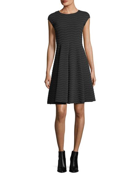 Armani Collezioni Cap-Sleeve Wave Jacquard Dress