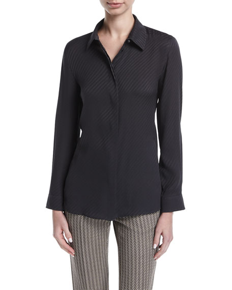 Armani Collezioni Geometric Silk Jacquard Shirt