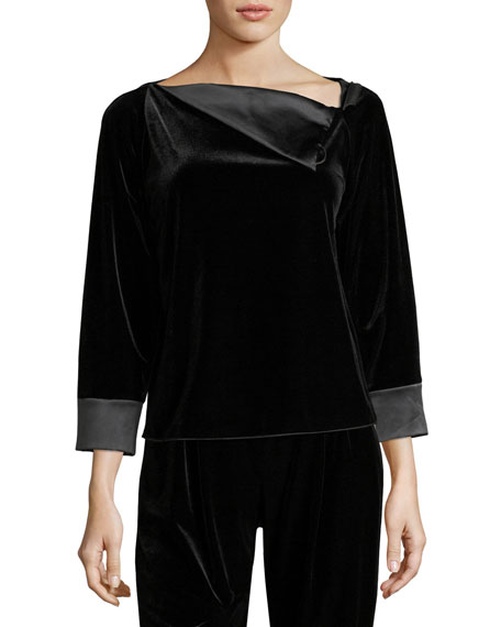 Velvet Satin-Trim Blouse, Black