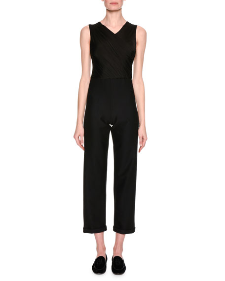 High-V Sleeveless Cropped Jumpsuit, Black