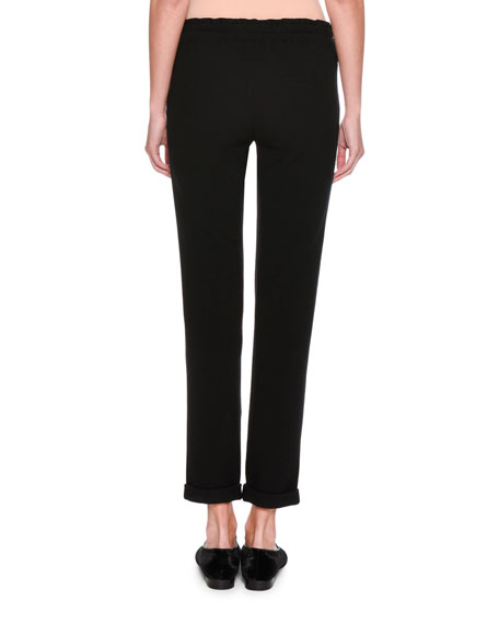 Pleated-Waist Knit Pants, Black