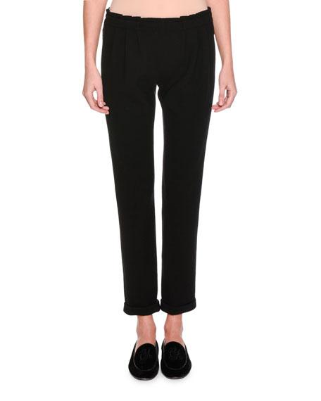 Giorgio Armani Pleated-Waist Knit Pants, Black