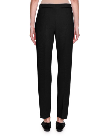 Stretch Wool Slim-Leg Pants, Black