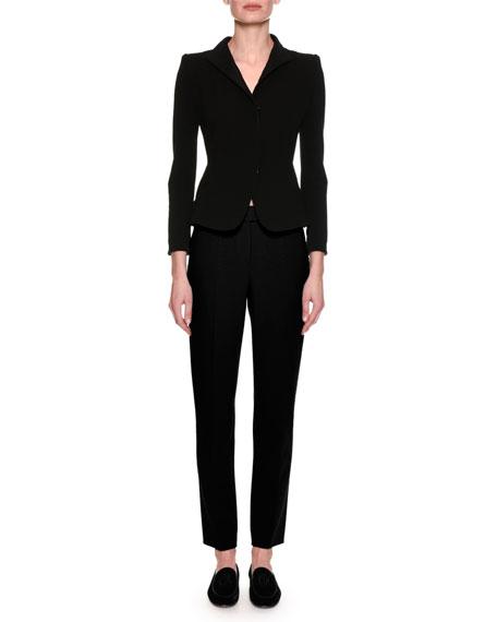 Stretch Wool Slim-Leg Pants, Black
