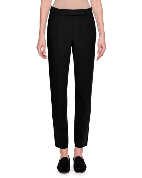 Giorgio Armani Stretch Wool Slim-Leg Pants, Black